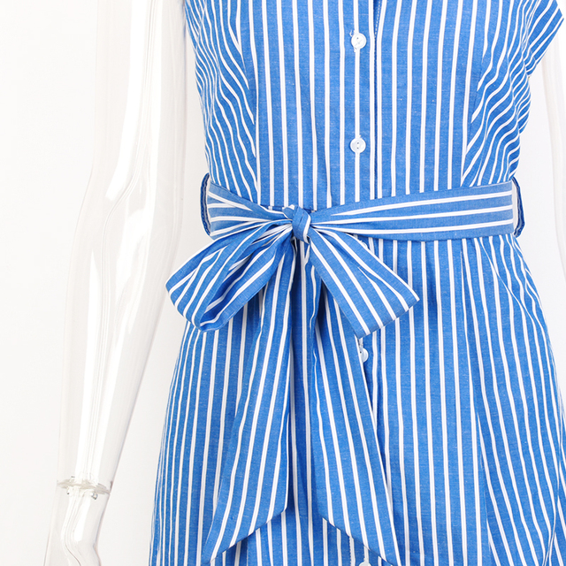 Blue Striped Bow Bandage Dress