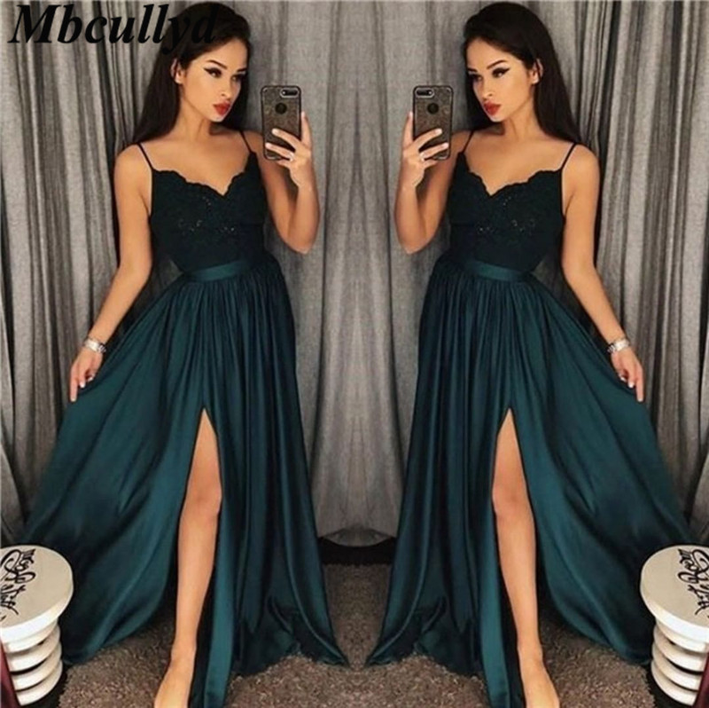 Mbcullyd Dark Green   Prom     Dresses   2019 Long Side Split Lace Applique   Dress   Evening Wear Plus Size V-neck Pageant gala jurke