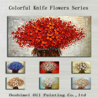 Hand Painted Colorful Flower Oil Painting Knife Paintings Modern Abstract Picture Wall Pictures For Living Room