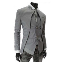 Male Blazer England Style Slim Fit Stand Collar Blazer Coats Business Men Blazer Brand Designer Fashion White Blazer