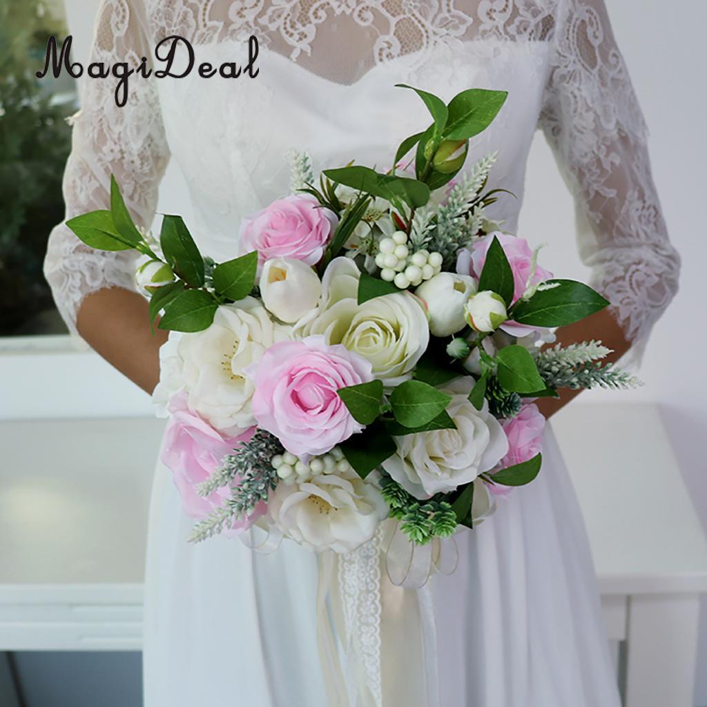 MagiDeal Elegant Wedding Bride Artificial Bouquet Bridal Shower Hand ...