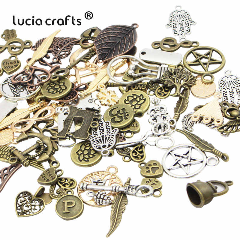 Lucia Craft Mixed Sizes Antique Bronze Alloy Metal DIY Pendant Jewelry necklace bracelet Accessories Material 25g/lot G1006