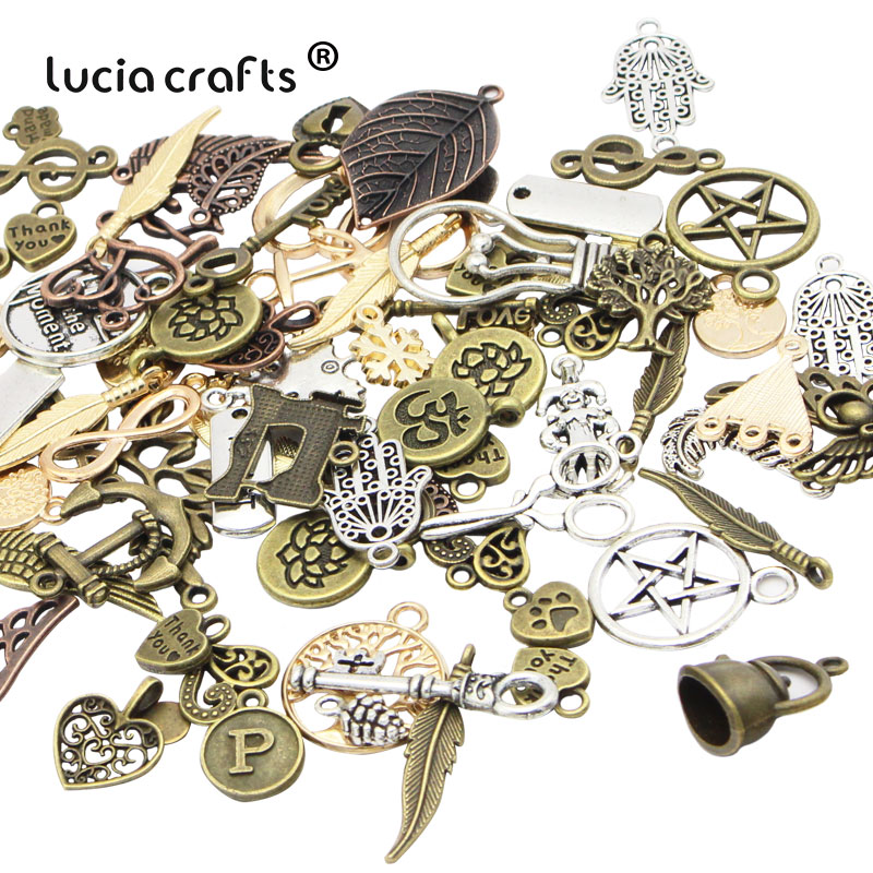 Lucia Craft Mixed Sizes Antique Bronze Alloy Metal DIY Pendant Jewelry necklace bracelet Accessories Material 25g/lot G1006|lot lot|materials diy|crafts diy - title=