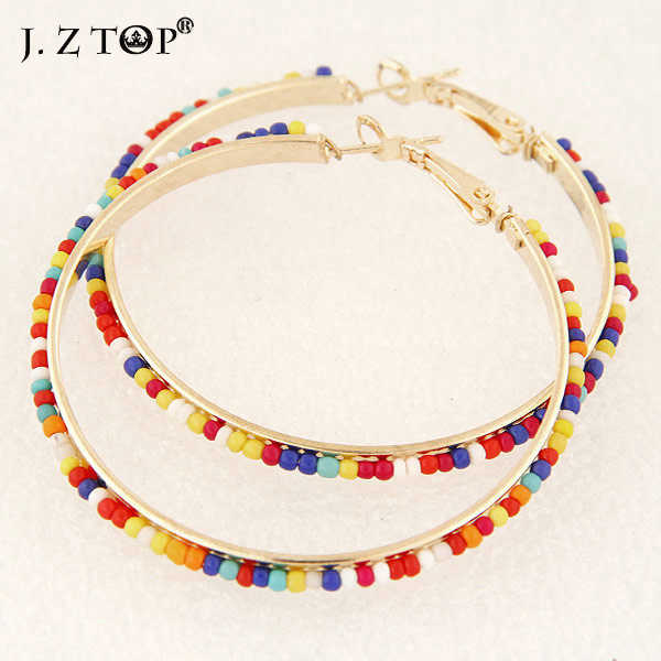 JZTOP Multicolor Bead Round Hoop Earrings Fashion Classic Fine Circle Earrings Basketball Wives Earring boucles d'oreilles