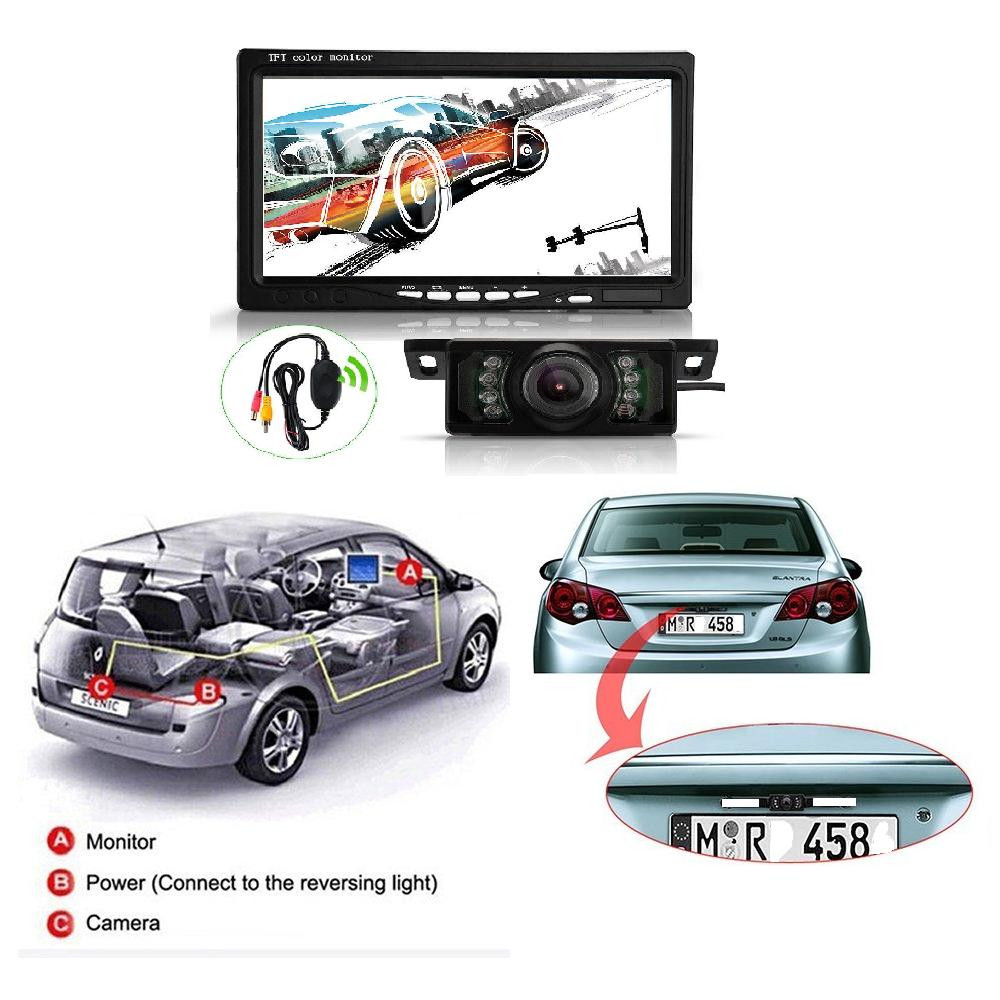 7 TFT LCD Car Rear View Backup Monitor+Wireless Parking Night Vision Camera Kit dash camera 4k dvr car recorder dashcam dual 4 3 tft lcd car rear view stand security monitor and camera kit black