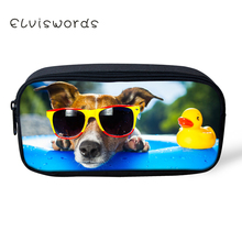 ELVISWORDS Pencil bag Lovely Dog pencil case pencil box School Office Supplies Stationery Pouch Purse Storage Cute Makeup bags korea stationery lovely pencil box multifunctional wooden diy drawer stationery box pencil case school