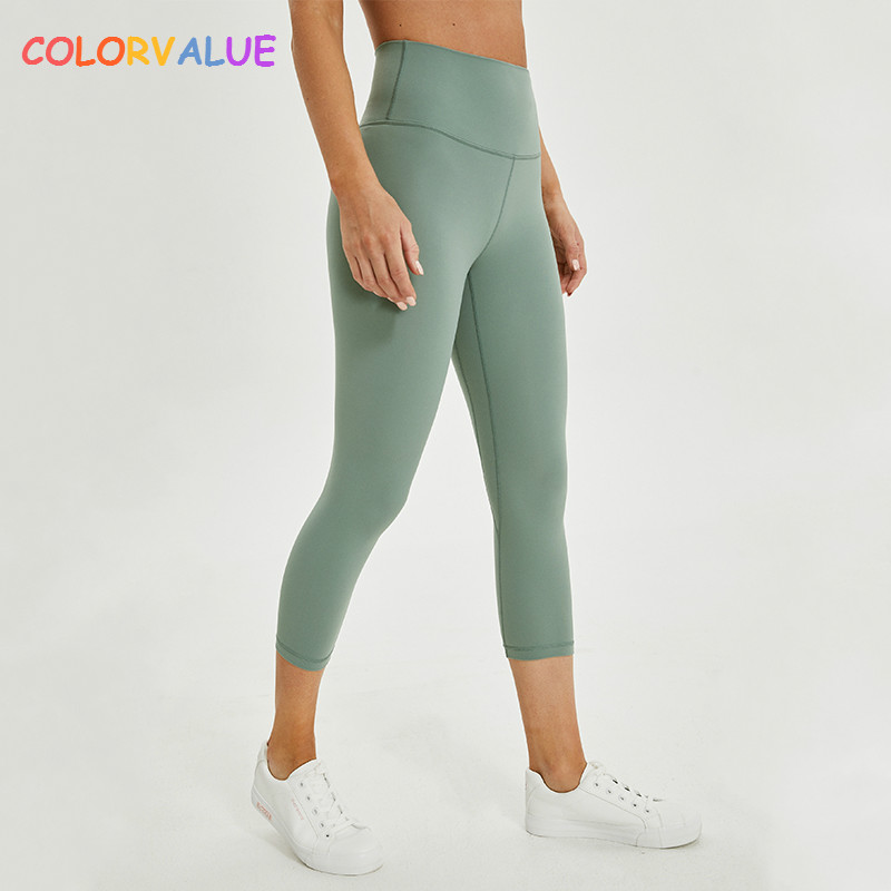 Colorvalue 2.0Versions Naked-Feels Plain Athletic Fitness Cpari Pants Women Soft Nylon Gym Yoga Sport Cropped Trousers Size2-10Colorvalue 2.0Versions Naked-Feels Plain Athletic Fitness Cpari Pants Women Soft Nylon Gym Yoga Sport Cropped Trousers Size2-10