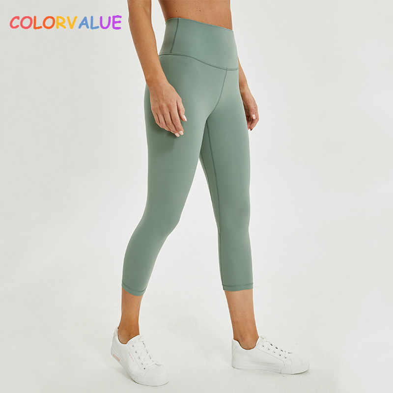 202a19ac8c1fd Colorvalue 2.0Versions Naked-Feels Plain Athletic Fitness Cpari Pants Women  Soft Nylon Gym Yoga