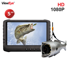 ViewEye 5 дюймов видео эхолот рыболовный чемодан для камеры Full HD 1080P зимняя ледовая Рыбалка 12 яркий белый светодиодный вкл/выкл эхолот