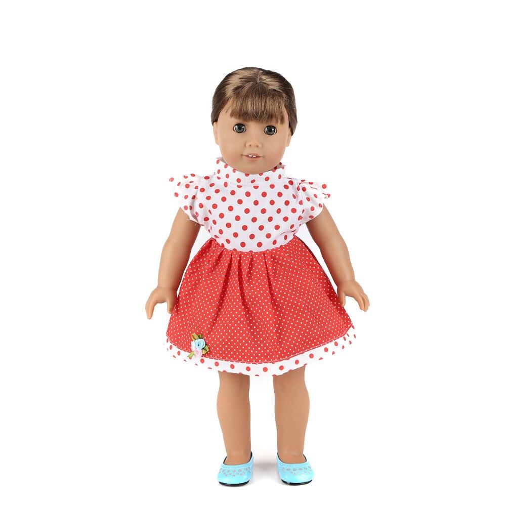 Newest 18 Inch American Dolls Dress Polka Dot Cloth Dress Our Generation Dolls