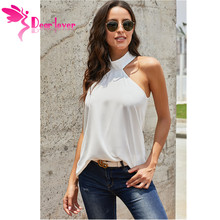 Dear Lover Halterneck Top Sexy Party Vests Halter Women Summer Casual Elegant Sleeveless Tank Top with with Keyhole Back LC25195 недорого