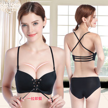 d5f9a300c7fb0 Fashion super push up bra thicken cup gather breast one seamless women bra  adjustable straps padded cup brassiere without panty