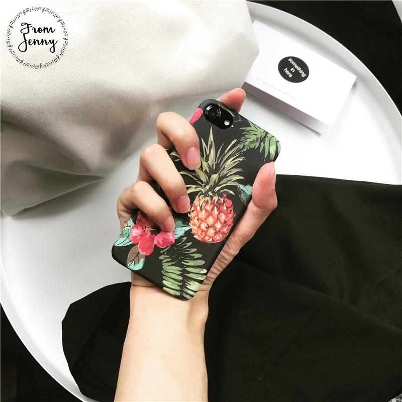 De Jenny Dur PC En Plastique Ananas Cas pour iPhone7 7 Plus De Protection cas pour iPhone6 6 plus i6s Plus 8 8 plus X Dur PC couverture