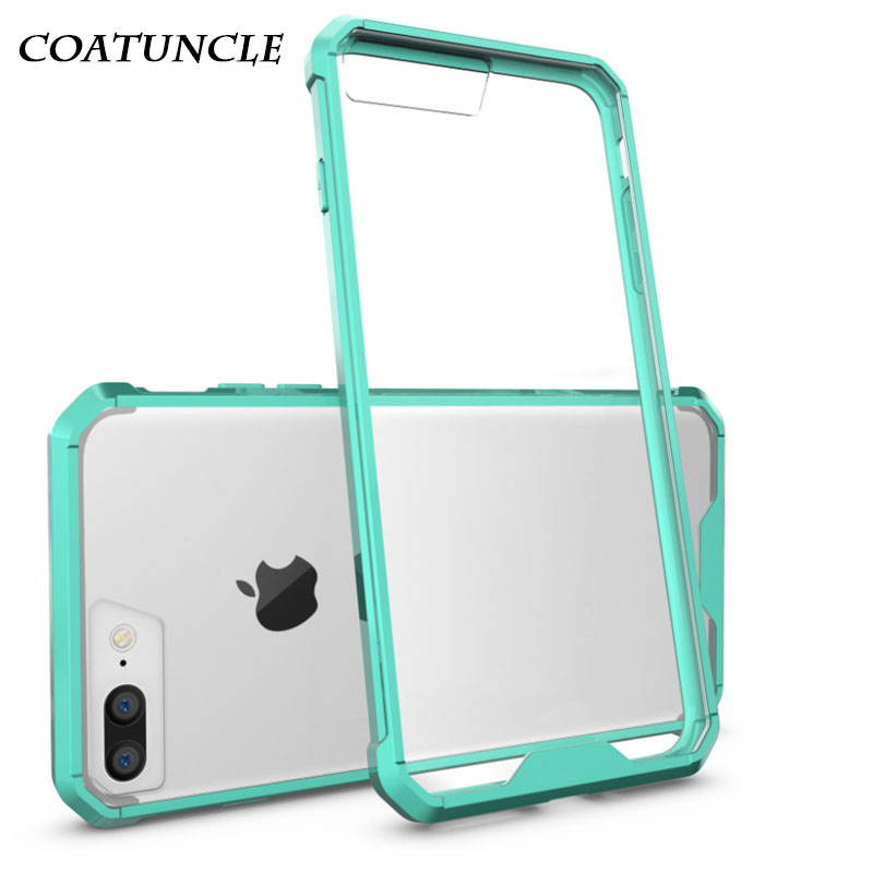 COATUNCLE Phone Case For iPhone 8 For Fundas iPhone 7 case cover Armor Transparent Acrylic Hard Plastic Soft Frame Back Cover