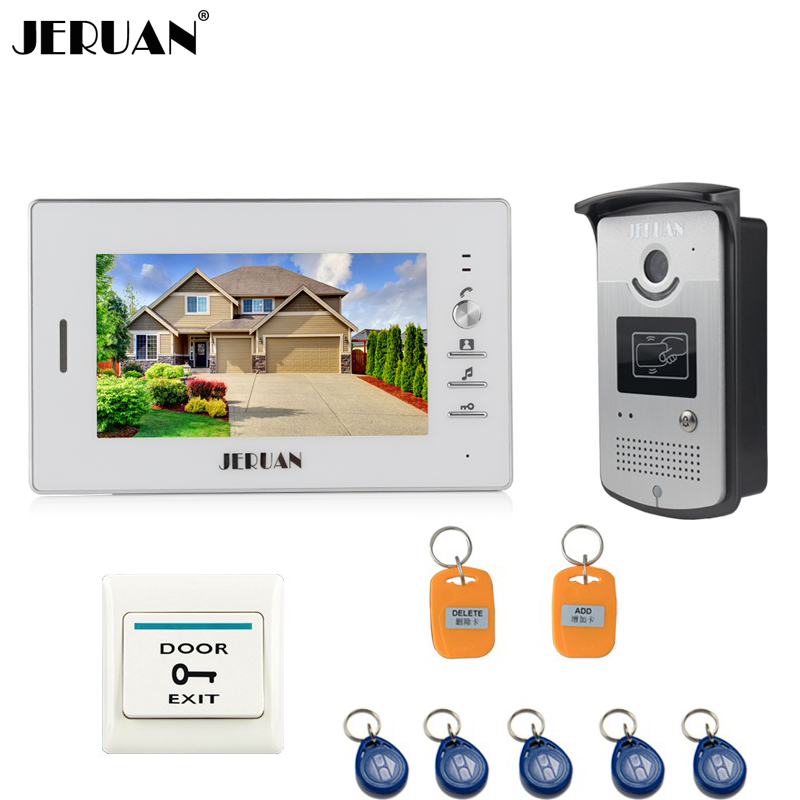 JERUAN 7 INCH Video Intercom Door Phone System With 1 White Monitor 1 RFID Card Reader HD Doorbell Camera In Stock free shipping 7 video intercom video door phone system with 1 monitor 1 rfid card reader hd doorbell camera in stock wholesale