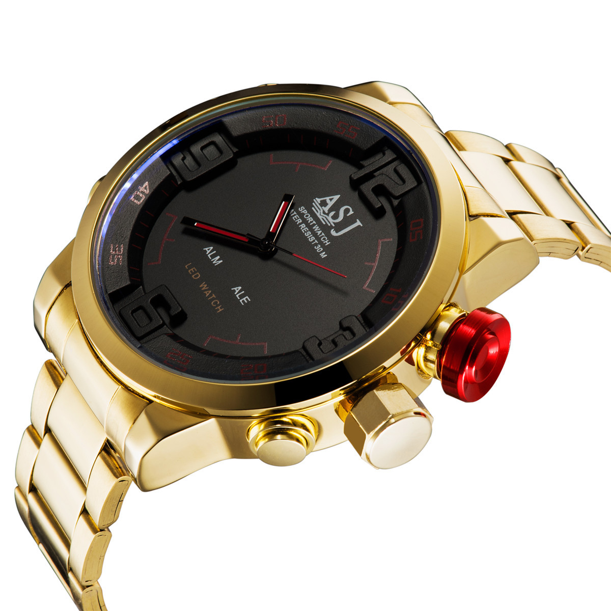 Top Brand ASJ Fashion Digital Watch Men LED Full Steel Gold Mens Sport Quartz-Watch Military Army Male Watches relogio masculino brand amuda fashion digital watch men led full steel gold mens sports quartz watch military army male watches relogio masculino