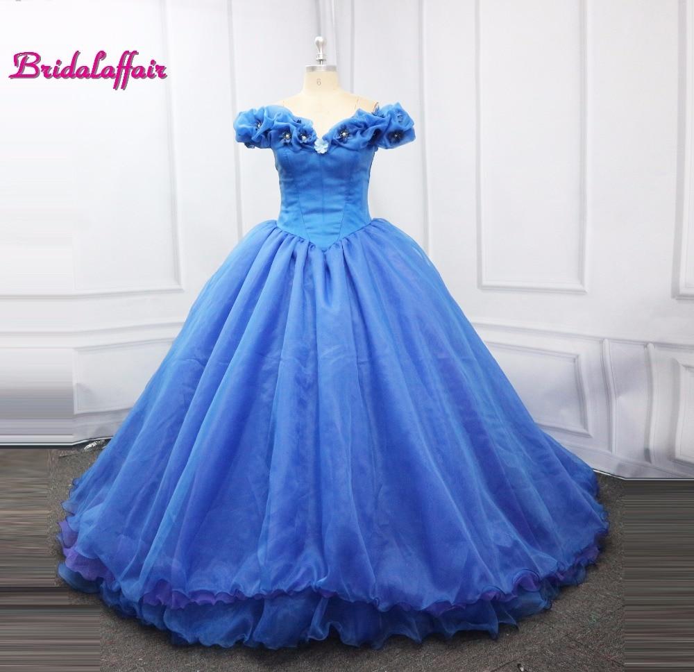 New Movie Deluxe Adult Cinderella Wedding Dresses Blue Cinderella ...