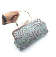 Moire Tapestry Fabric Purse Frame Bags Material Kit with Clasp lock Wedding Party Handle Chain Shoulder Bag with Kissing Lock