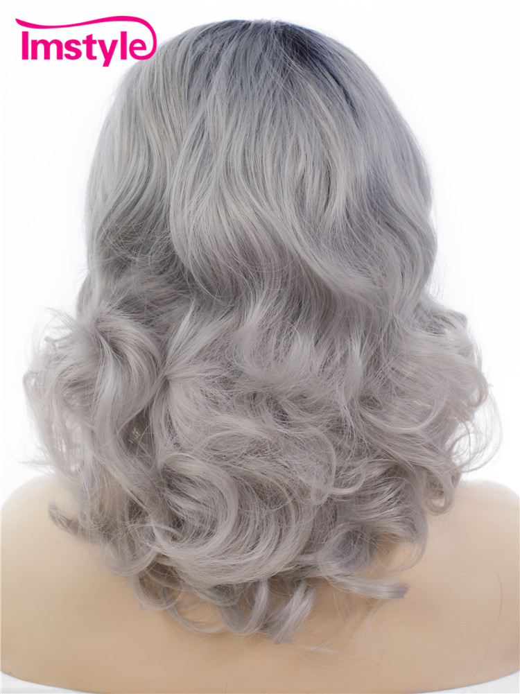 Imstyle Wavy Dark Root Grey Ombre color 16 inches Synthetic lace front wigs for drag queen party