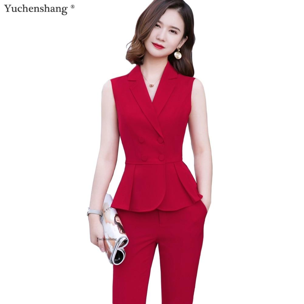 Summer Wear Short Sleeve Women 2 Piece Set Fashion Pant Suit Size S-4XL Slim Vest Sleeveless Jacket Blazer With Pant Red