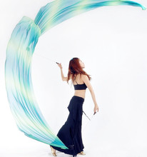 2pcs צעיף 2pcs POI שרשרת כדור 2.0m * 0.7m רב צבע ריקוד צעיף ריקודי בטן תלבושות אבזר משלוח חינם