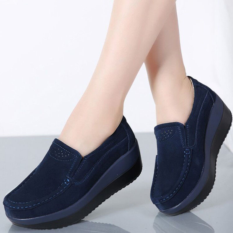 Women Flats 2019 New Creepers   Suede     Leather   Ladies Shoes Hollow Platform Shoes Slip On Casual Shoes Women Moccasins Loafers