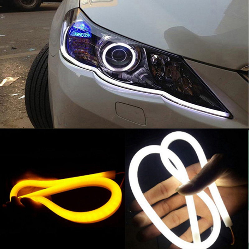 2pcs 30cm DRL Stripe Flexible LED Tube Strip Style Daytime Running Car External Lights 2017 2pcs 30cm led white car flexible drl daytime running strip light soft tube lamp luz ligero new hot drop shipping oct10