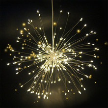 Hanging Starburst String Light 80LEDs 120Leds RGB DIY Firework Copper Fairy Garland Christmas Outdoor Lights Twinkle