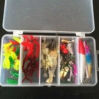 Hüpfenden Box Verpackt 70 stücke Fischköder Köder Künstliche Weiche Köder Harten Köder Angelhaken Spinner Feder Tackle-Tool Zubehör