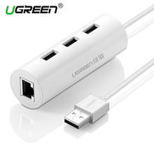 Ugreen USB Ethernet Adapter with 3 Port USB 2.0 HUB Splitter RJ45 Lan Network Card USB to Ethernet Adapter Network Card Hubs