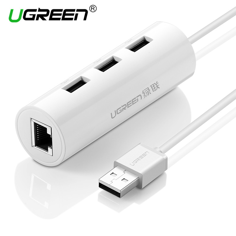 Ugreen USB Ethernet Adapter with 3 Port USB 2.0 HUB Splitter RJ45 Lan <font><b>Network</b></font> Card USB to Ethernet Adapter <font><b>Network</b></font> Card Hubs