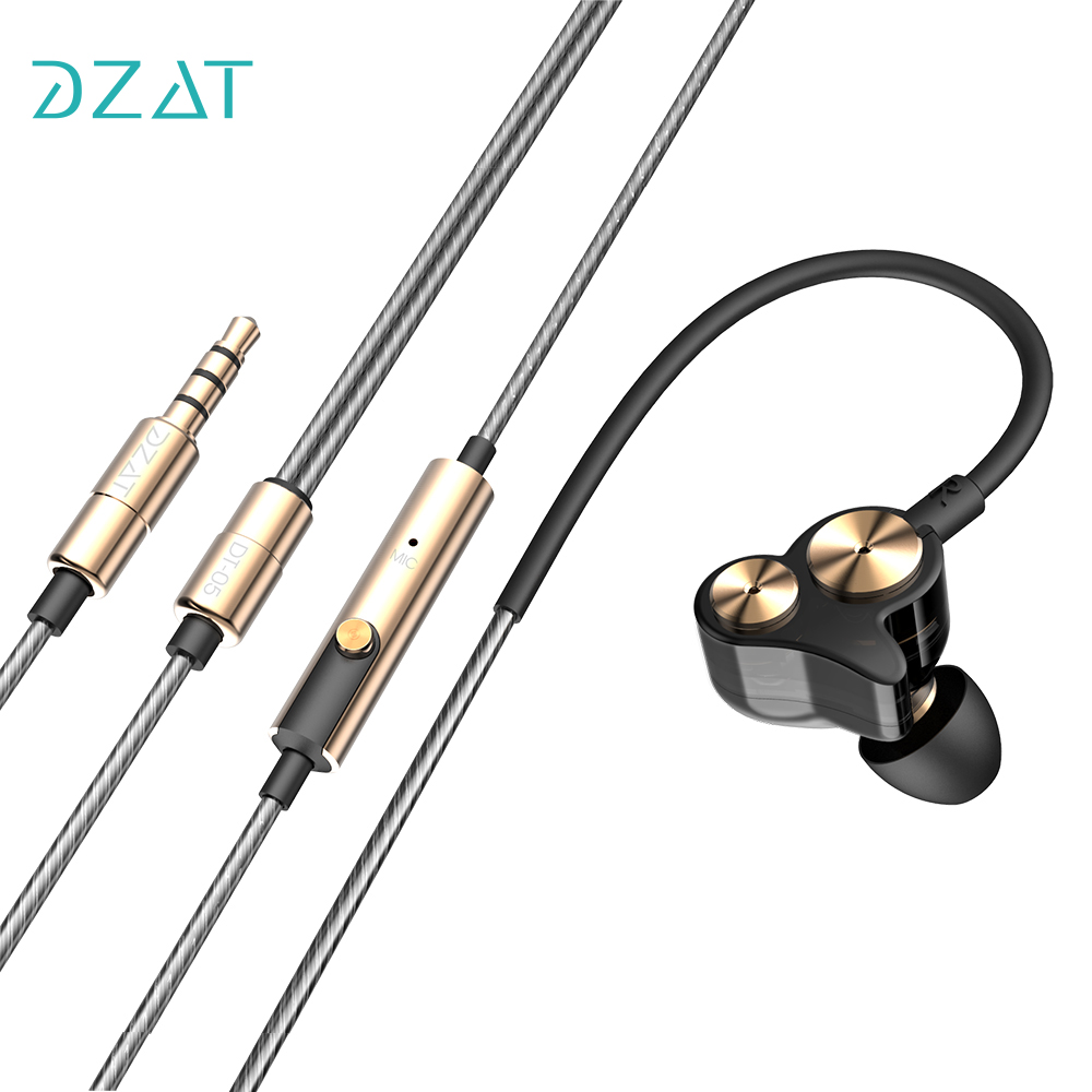 DZAT DT-05 Dual Dynamic Stereo 3.5mm In Ear Earphone Wired Sport Earphones Noise Isolating Earbuds With Mic For Smartphones kz ed8m earphone 3 5mm jack hifi earphones in ear headphones with microphone hands free auricolare for phone auriculares sport