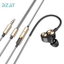 Dzat dt-05 двойной динамический стерео 3.5 мм в ухо проводные наушники спортивные Наушники Шум изоляции наушники с микрофоном для смартфонов