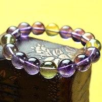 AAAA Purple Yellow Crystal Bead Size Natural Purple Yellow Crystal Bracelet Bracelet Ornaments 12mm