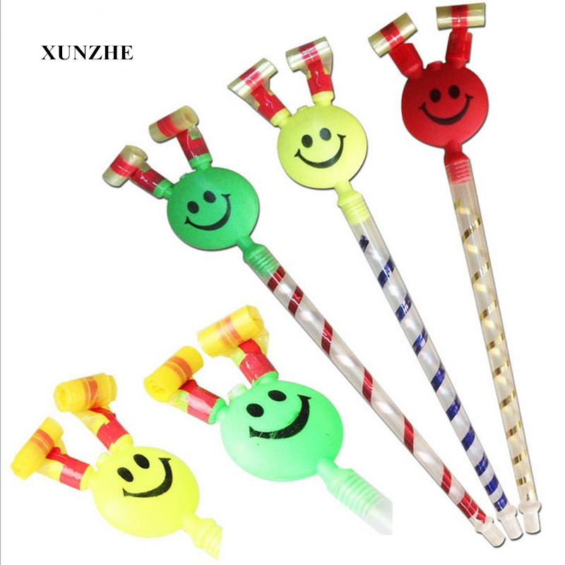 10Pcs 37cm long Smiling Colorful Whistles Kids Childrens Birthday Party Blowing Dragon Blowout Baby Birthday Supplies Toys gifts