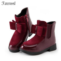 2016 Autumn And Winter Boots Children S Shoes Girls Bow In The Wind With Mid Top