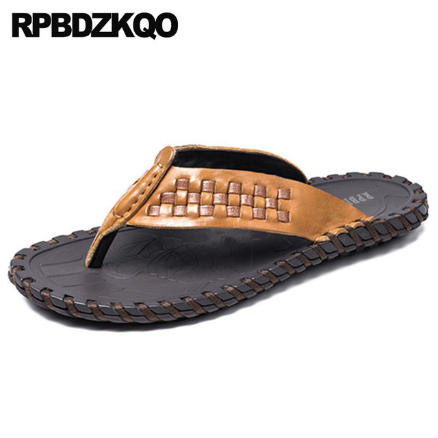 b34a540ada69 Slides Slip On Shoes Black Woven Men Sandals Leather Summer Flip Flop Soft  Water Slippers Famous Brand Sneakers Sport Native