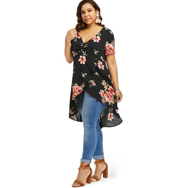 2e57838e2ed 2018 Ladies Tops Casual V-Neck Short Sleeve Blusas Plus Size Floral Overlap  High Waist Tulip Tunic Blouse Women Blouses
