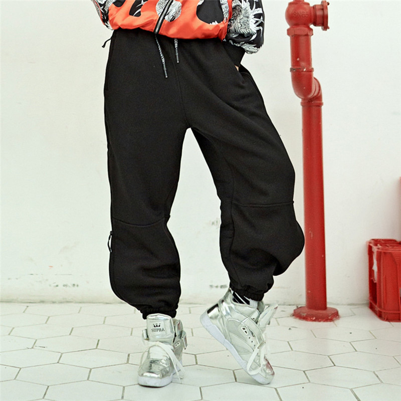 women hip hop pants side snake cotton elastic waist side zipper stripe pleated rivet black trousers