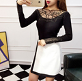 2016 Spring Autumn New Arrival Women's Fashion Brand Slim Lace Knitted Sweater Women Sexy Leaf Hollow Out Knitwear