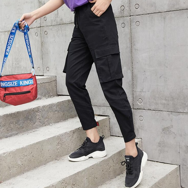 2019 new Streetwear Cargo   Pants   Women Casual Joggers Black High Waist Loose Female Trousers Korean Style Ladies   Pants     Capri