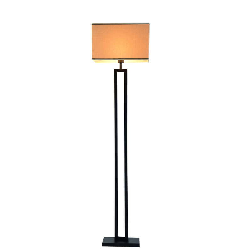 Chinese Modern Black Floor Lamp Flaxen Fabric Lampshade Standing ...