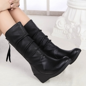 Image 3 - Women Mid Calf Boots Winter Warm Snow Boots Waterproof Pu Leather 6cm High Heel Shoes Woman Platform Wedges Ladies Creepers