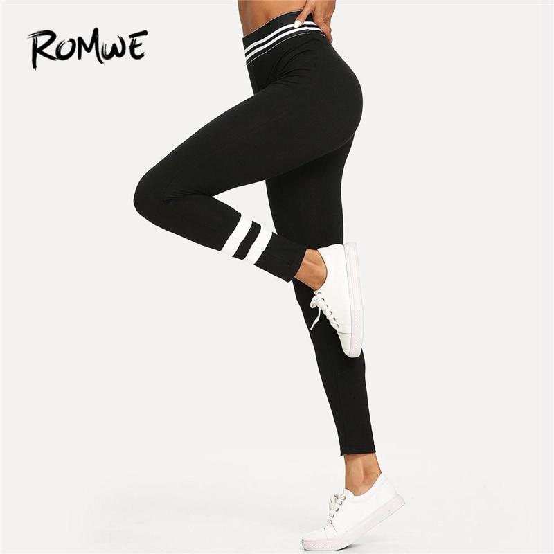 b200d33b82a01 Romwe Sport Black Striped Skinny Capris Elastic Waist Stretchy Yoga Pants  Women Autumn Fitness Gym Active Wear Yoga Tights