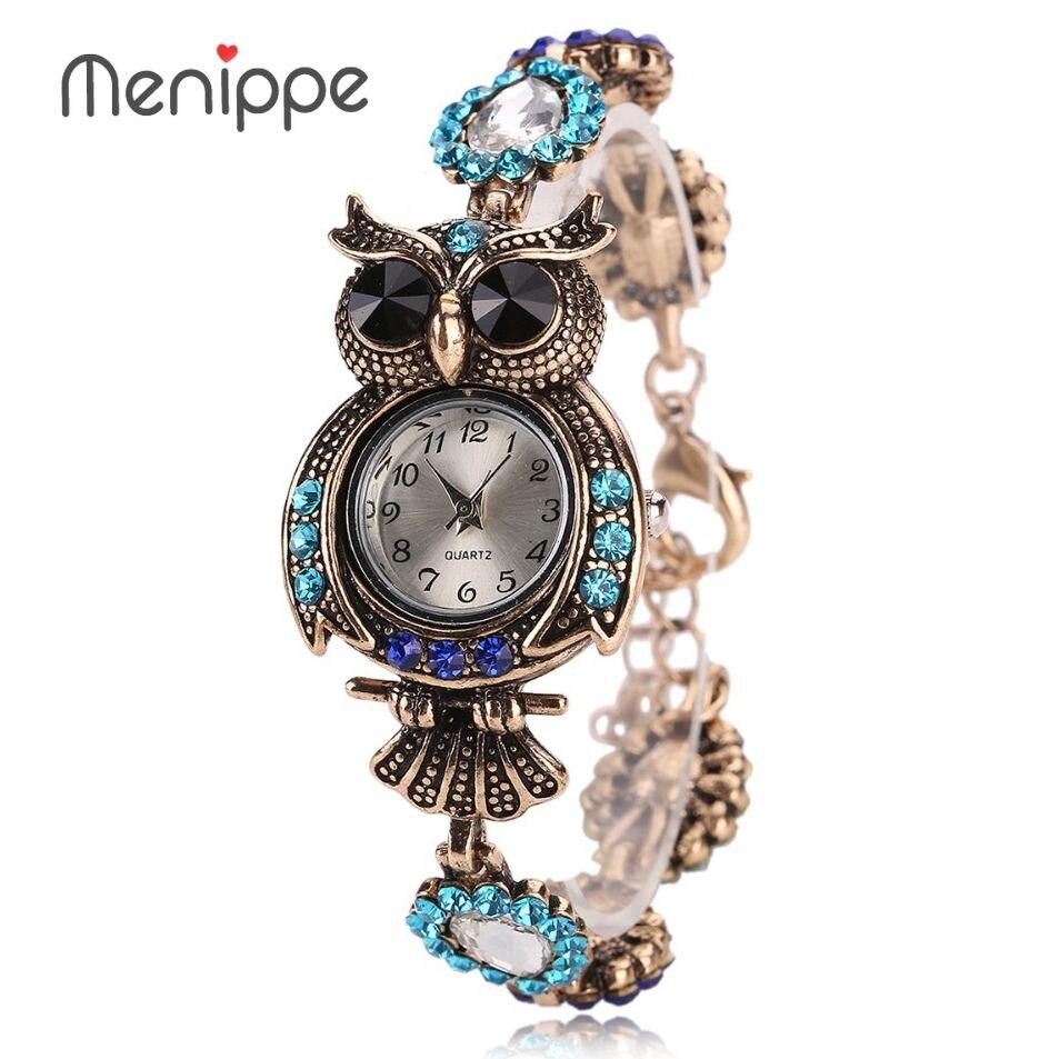 2017 Vintage Quartz Luxury Brand Owl Fashion Shiny Diamond Women Bracelet Watches Beautiful Girls Gift Watches bayan kol saati