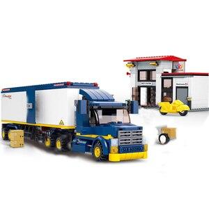 Image 2 - Conjuntos de blocos de construção de caminhão, cidade, ônibus, garagem, escola, transporte de carga, caminhão, crianças, brinquedos, marvel, amigos