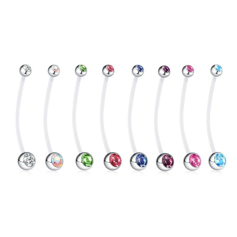 Женское кольцо для пирсинга пупка, с кристаллами, 14 г, 1 шт.
