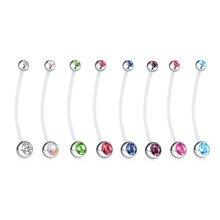 1 pçs 14g charme gravidez botão da barriga anéis corpo piercing jóias de cristal piercings umbigo para as mulheres moda jóias acessórios