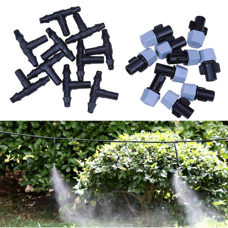 10 pcs Mist Nozzles +10 Tee Adjustable Garden Spray Sprinkler Heads Misting Watering Irrigation Nozzle