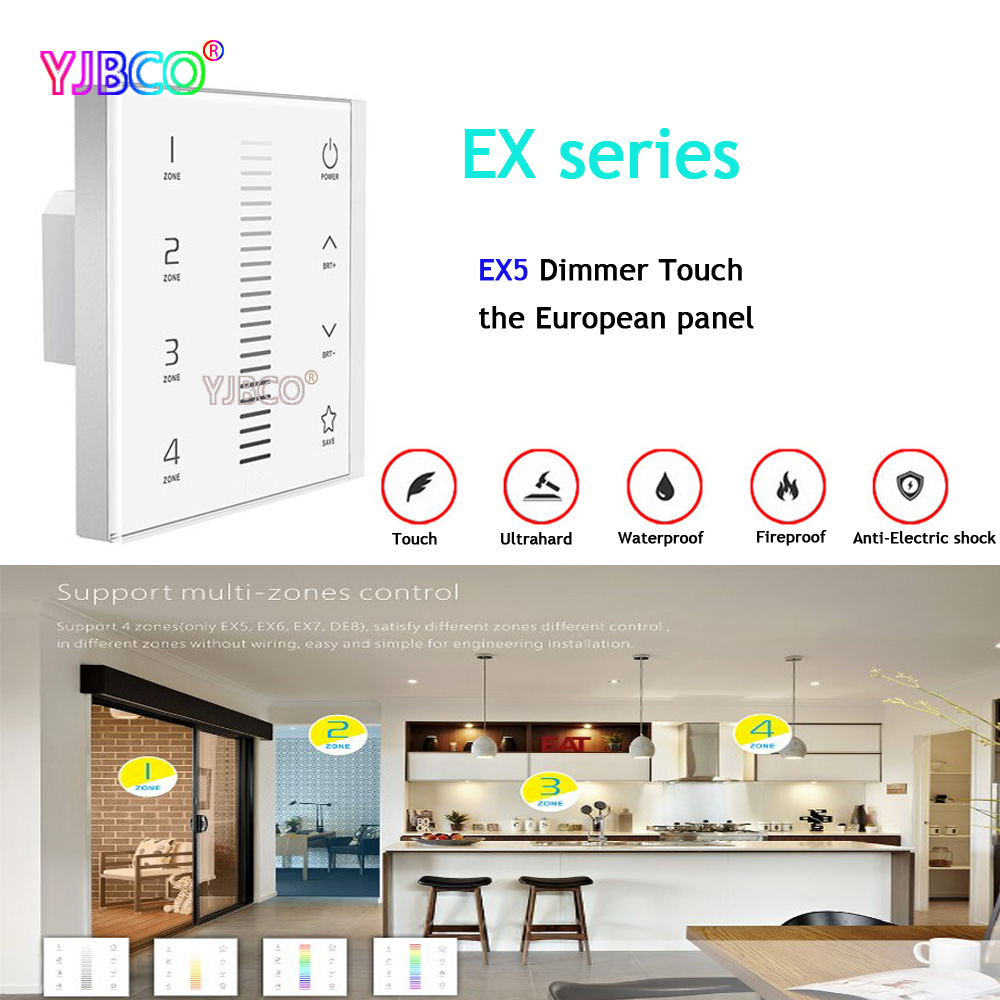 EX5 Wall Mount Dimmer controller Dimming European-style touch panel;AC100-240V input;2.4G RF DMX512 signal output ac110 240v dx5 touch panel wall mount led dimmer controller 2 4g rf wireless 4 zones control dmx512 signal output